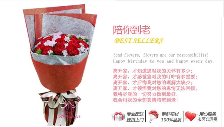 陪你到老—快送鲜花网|母亲节花束|邮政订花|异地送鲜花|送康乃馨